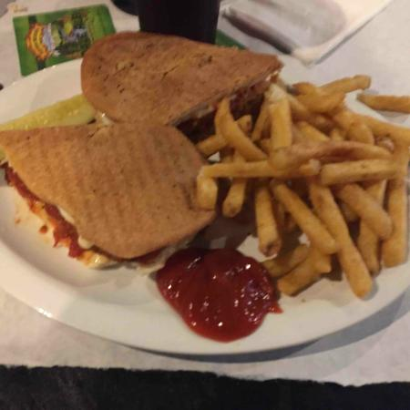 mj's pizza bar grill of neptune: Eggplant Panini & Fries