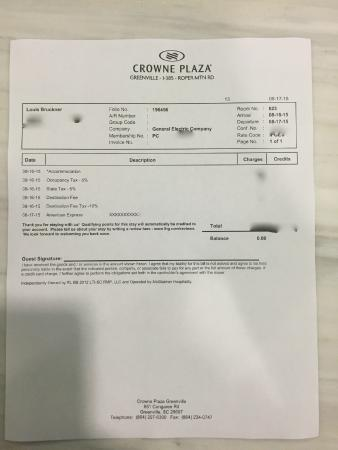 Crowne Plaza Greenville: proof of patronage Edited