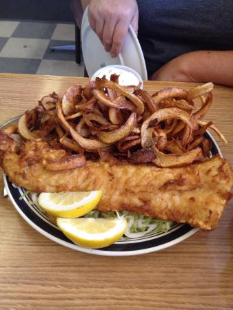 Dryden, WA: Beer battered cod and curly fries.