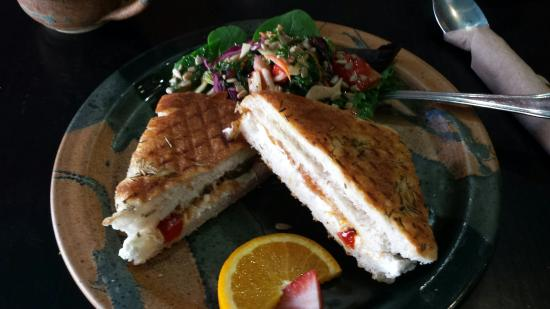 Apple Annie's Cafe : Delicious goat cheese panini with salad