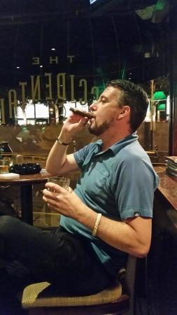 My boyfriend enjoying a cigar on his birthday :) - Picture