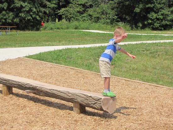 Westerville, OH: A bench / balance beam near the play area. Made from a tree sawn lengthwise.