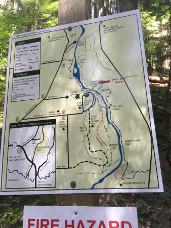 Lynn Canyon Park Trail map in case I got lost Picture of Lynn