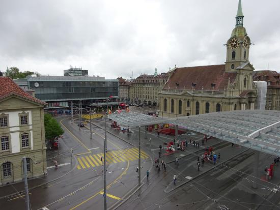 Hotel City am Bahnhof: Street view from balcony showing nearby train station