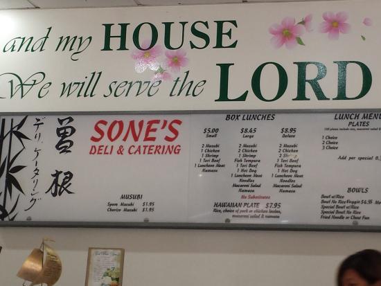 Sone's Deli & Catering : The store billboard