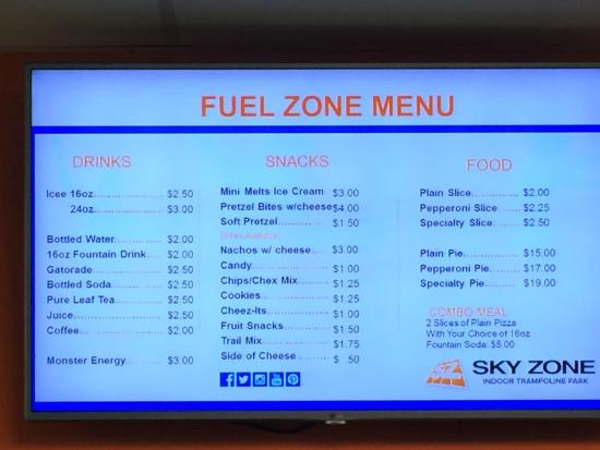 Concession Menu & Pricing at Sky Zone Newark