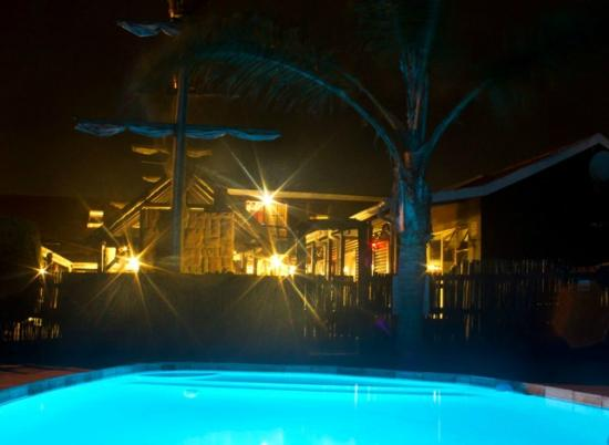 Bay Cove Inn Bed and Breakfast : Our pool at night.