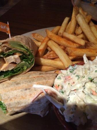 Nando's: Chicken wrap with coleslaw and fries
