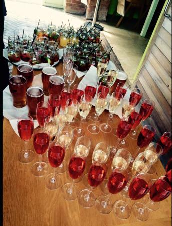 The Pheasantry Brewery, Weddings and Events: His & hers arrival drinks !!! Ale , prosecco and pimms in jam jars !!!