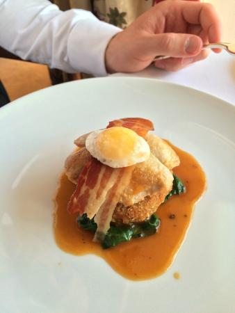 Howtown, UK: Breast of guinea fowl, confit leg croquette on a bed of wilted spinach