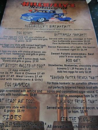 Wears Valley, TN: menu