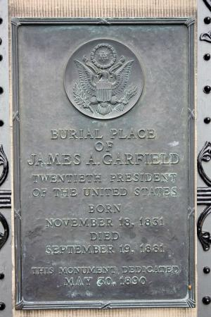 James A. Garfield Monument: The plaque