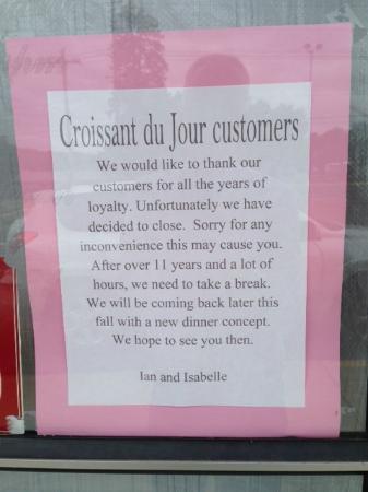 Croissant du Jour: sign in their window