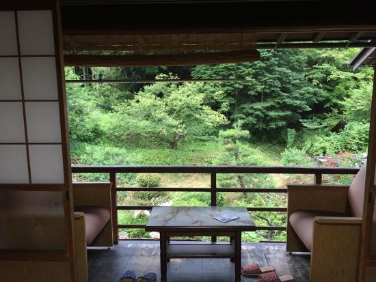 Minshuku Koshinzuka: View from room to veranda and river
