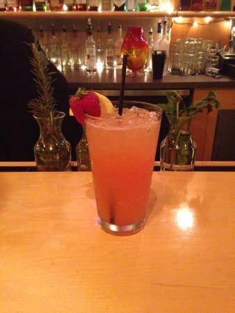 The Ideal Place: Strawberry Basil Kiss! Fresh puréed strawberry simple syrup and vodka with fresh puréed lemonade