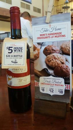 Mimi's Cafe: $5 French house wines, always