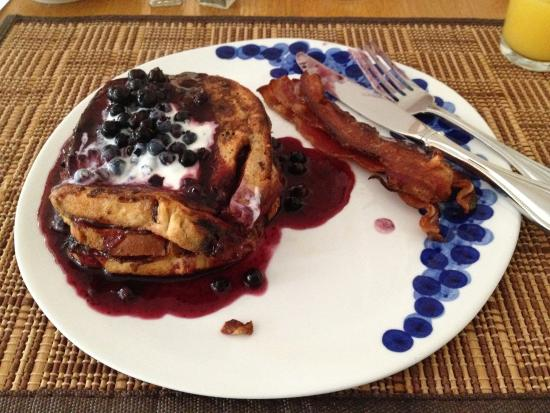 Maples Inn: French Toast with Blueberry Sauce for breakfast.