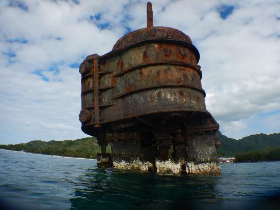 Wreck of the Matai: Part of the wreck is above the water