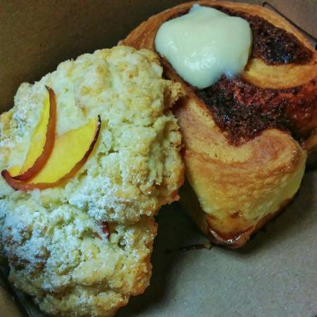 The Lake Village Bakery: Peach scone-of-the-day and infamous cinnamon bun was just part of our yummy haul.