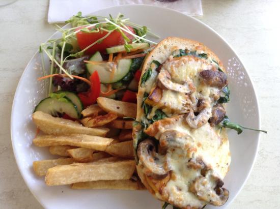 Penny Lane Gardens Restaurant: Pumpkin, spinach on Turkish bread with chips & salad.