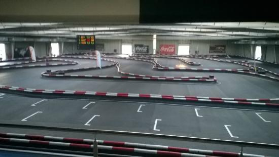 Silver Hotel & Gokart Center: Indoor Kart track view from Restaurant