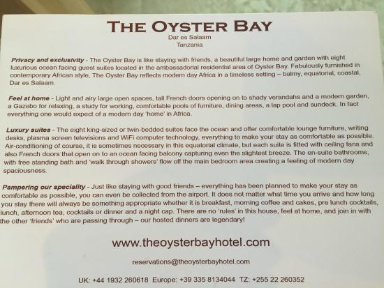 The Oyster Bay Hotel: This sums it up!
