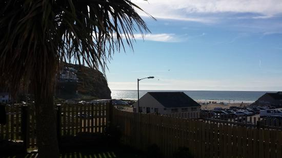 Porthtowan, UK: Hot day, view from our apartment of the dune and sea beyond