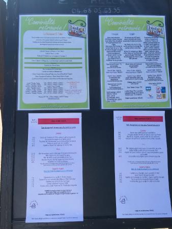 Taurinya, Fransa: Carte et menus
