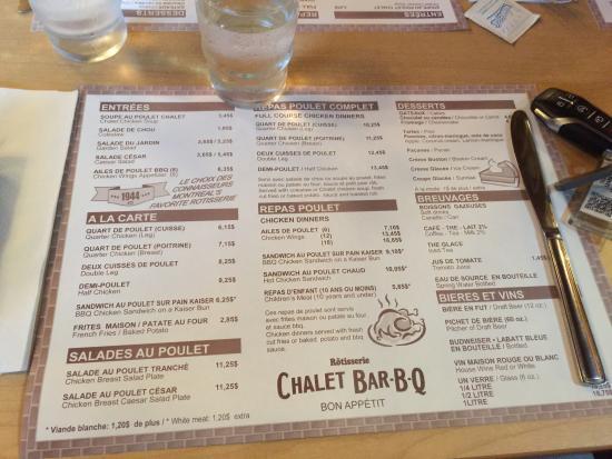 Chalet Bar-B-Q: Les Menu