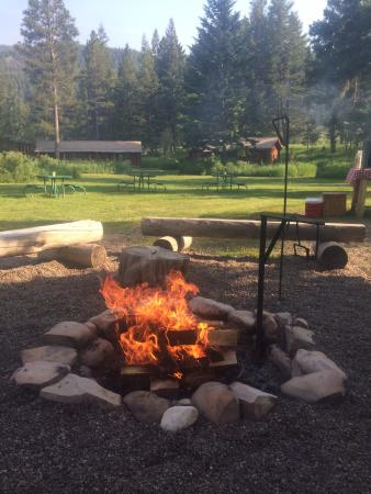 Kelly, WY: Campfire in the afternoon