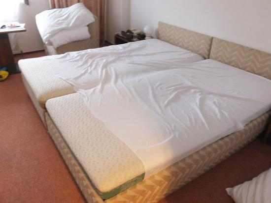 A-Austerlitz Hotel : Bed made with only 1 sheet between 2 beds!