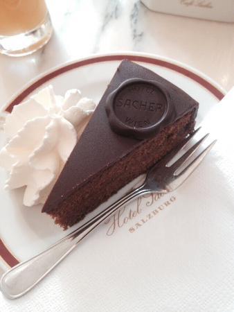 Sacher Torte with cream at the Hotel Sacher Salzburg
