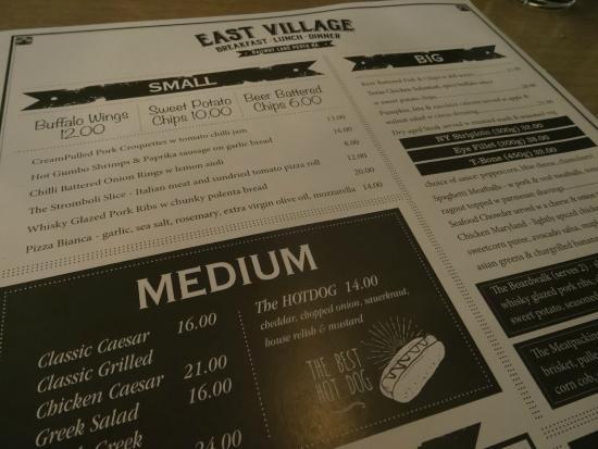 menu picture of east village perth tripadvisor. Black Bedroom Furniture Sets. Home Design Ideas