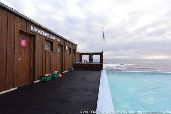 Nordurfjordur, Islandia: View from the pool deck as storm clears in early morning