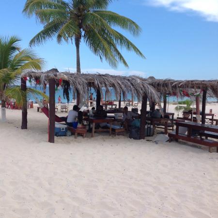 Eco Cabanas Pirata Morgan : Area de Palapas con Mesas