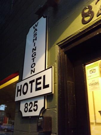 The Washington Hotel: Main Sign on Outside of Building