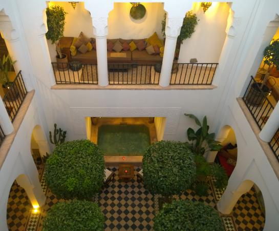 Riad Camilia: Courtyard from rooftop terrace