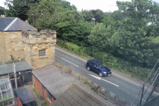 Sneaton Castle Centre: a bit too much traffic - seen  from our hallway