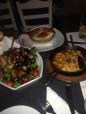 Argo Restaurant: Salad/Shrimp Saganaki/Feta in the oven