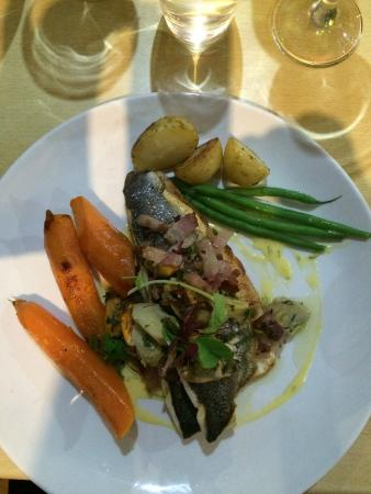 The Straits Restaurant: Sea bass with glazed vegetables