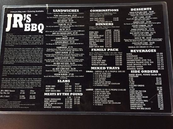 JR's Genuine Barbeque: La carte