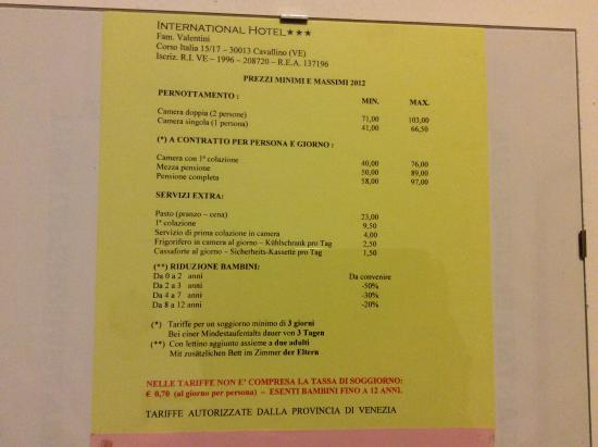 Hotel International: prezziario in camera del 2012