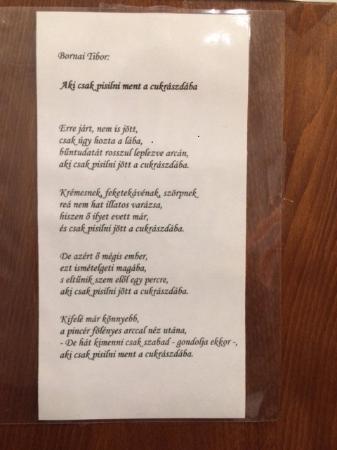 Bergmann Cukraszda  - Balatonfured, Zsigmond utca: Poem on the toilette door :(