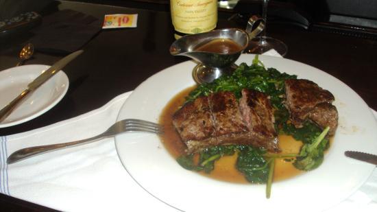 My Steak  and wine  at Evo Bistro