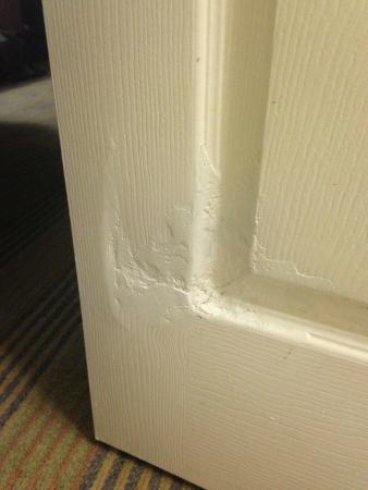 Doubletree Hotel Atlanta/Alpharetta-Windward : Damaged door, floppy repair.