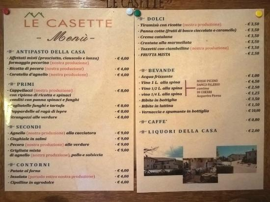 "Agriturismo ""Le Casette"": Menù dell'Agriturismo"