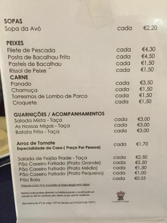 Pombal, Portugal: Ementa!