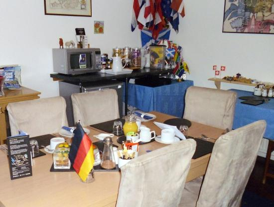 Best Foot Forward: Flags of your home nation greet guests for breakfast. Nice touch.