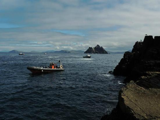 Ballinskelligs Boats: View towards Little Skellig from the Skellig Michael dock