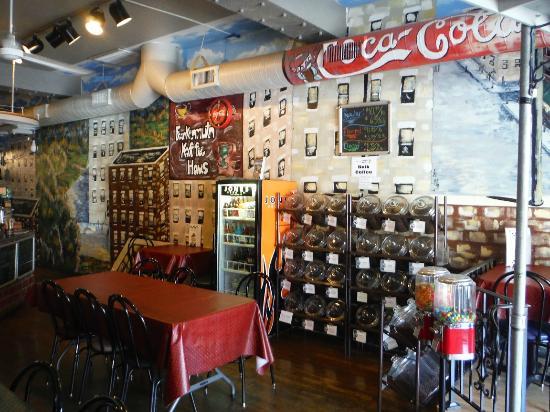 Frankenmuth Kaffee Haus: Decorative seating area and Jones sodas.
